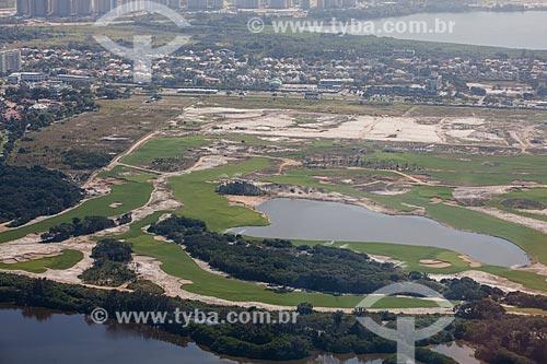 Foto aérea do Campo de Golfe da Barra da Tijuca - parte do Parque Olímpico Rio 2016  - Rio de Janeiro - Rio de Janeiro (RJ) - Brasil