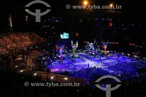 Apresentação do Boi Caprichoso durante o Festival de Folclore de Parintins no Centro Cultural e Esportivo Amazonino Mendes  - Parintins - Amazonas (AM) - Brasil