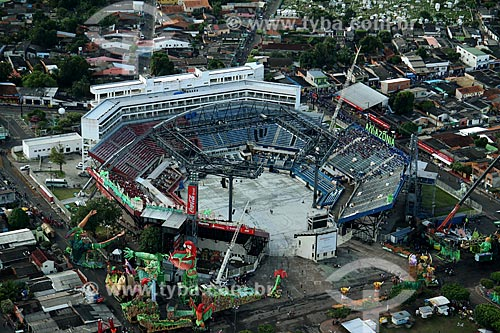 Foto aérea do Centro Cultural e Esportivo Amazonino Mendes (1988) - também conhecido como Bumbódromo  - Parintins - Amazonas (AM) - Brasil