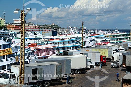 Barcos ancorados no Porto de Manaus  - Manaus - Amazonas (AM) - Brasil