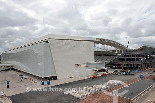 Entrada oeste da Arena Corinthians durante a instalação das arquibancadas temporárias  - São Paulo - São Paulo (SP) - Brasil
