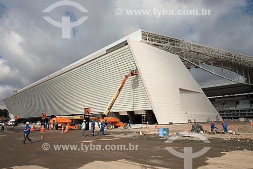 Canteiro de obras na entrada oeste da Arena Corinthians  - São Paulo - São Paulo (SP) - Brasil