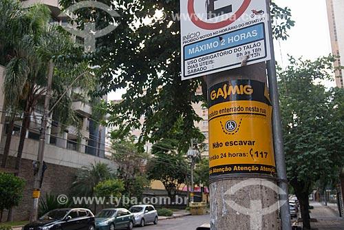 Sinalização da rede subterrânea de gás encanado  - Belo Horizonte - Minas Gerais (MG) - Brasil