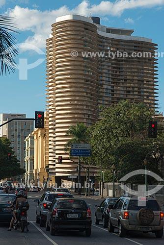 Vista do Edifício Niemeyer (1955) a partir da Praça da Liberdade  - Belo Horizonte - Minas Gerais (MG) - Brasil