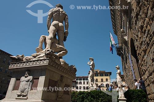 Estátua de Hércules e Caco em frente ao Palazzo Vecchio (Palácio Vechio) - século XIII  - Florença - Província de Florença - Itália