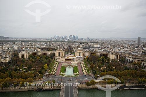 Vista de cima do Jardins du Trocadéro (Jardim do Trocadero) a partir da Torre Eiffel  - Paris - Paris - França