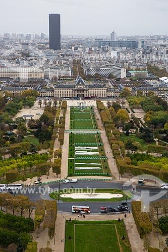 Vista de cima do Champ de Mars (Campo de Marte) a partir da Torre Eiffel  - Paris - Paris - França