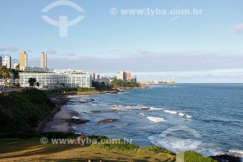 Vista da orla da Praia de Ondina a partir do Morro do Cristo  - Salvador - Bahia (BA) - Brasil