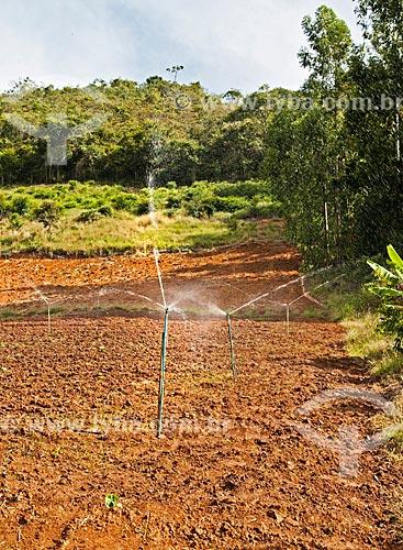 Pivô de irrigação em plantação de inhame entre as cidades de Afonso Cláudio e Laranja da Terra  - Afonso Cláudio - Espírito Santo (ES) - Brasil