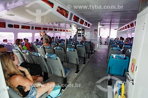 Interior do barco que faz a travessia entre Salvador e Morro de São Paulo no Terminal Turístico Náutico da Bahia  - Salvador - Bahia (BA) - Brasil