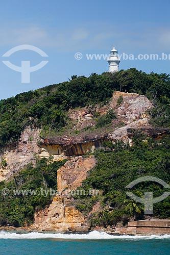 Vista do Farol do Morro de São Paulo (1855) com a Fortaleza de Tapirandu (1730)  - Cairu - Bahia (BA) - Brasil