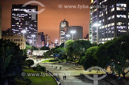Vista do Vale do Anhangabaú à noite  - São Paulo - São Paulo (SP) - Brasil