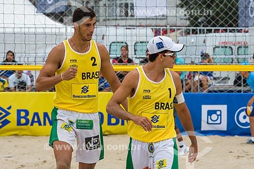 Dupla Guto e Saymo durante o Rio Open - etapa do Circuito Mundial - evento-teste para os Jogos Olímpicos - Rio 2016 - na Praia de Copacabana  - Rio de Janeiro - Rio de Janeiro (RJ) - Brasil