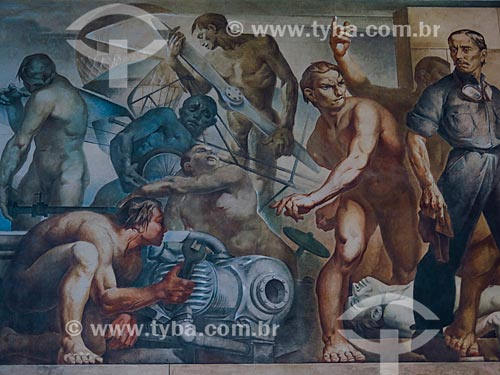 Detalhe do painel A Conquista do Espaço (1953) de Aldo Locatelli no terminal 2 do Aeroporto Internacional Salgado Filho  - Porto Alegre - Rio Grande do Sul (RS) - Brasil