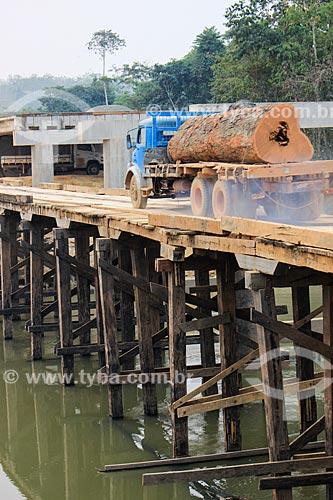 Transporte de madeira ilegal - tronco de faveiro-ferro (Dinizia excelsa Ducke)  - Machadinho do Oeste - Rondônia (RO) - Brasil