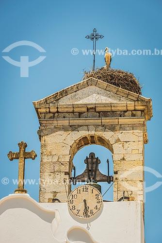 Ninho de cegonha-branca (Ciconia ciconia) no topo de uma torre de igreja  - Faro - Distrito de Faro - Portugal