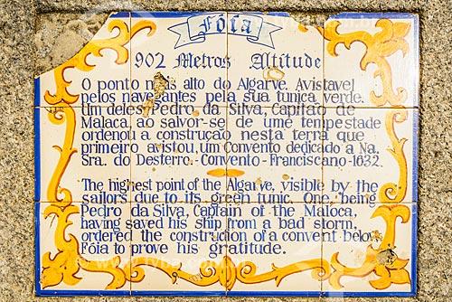 Placa na área de Foiá - parte mais alta da região da freguesia de Caldas de Monchique  - Concelho de Monchique - Distrito de Faro - Portugal