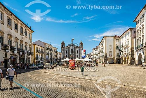 Vista da Praça do Giraldo com a Igreja de Santo Antão ao fundo  - Concelho de Évora - Distrito de Évora - Portugal