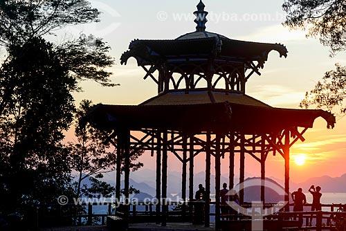 Vista do amanhecer a partir do mirante da Vista Chinesa no Parque Nacional da Tijuca  - Rio de Janeiro - Rio de Janeiro (RJ) - Brasil