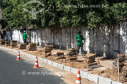 Construção de calçada no centro de Teresina  - Teresina - Piauí (PI) - Brasil