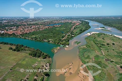 Foto aérea do Parque Municipal do Encontro dos Rios - encontro das águas do Rio Poti e Rio Parnaíba  - Teresina - Piauí (PI) - Brasil