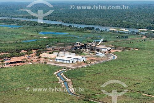 Foto aérea de usina de cana-de-açúcar na zona rural de Teresina - com o Rio Parnaíba ao fundo  - Teresina - Piauí (PI) - Brasil