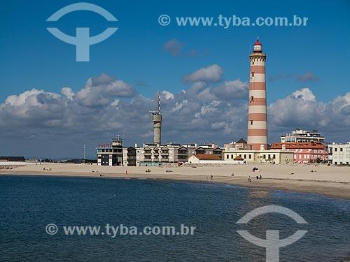 Praia da Barra com o Farol de Aveiro (1893) - também conhecido como Farol da Barra   - Concelho de Ílhavo - Distrito de Aveiro - Portugal