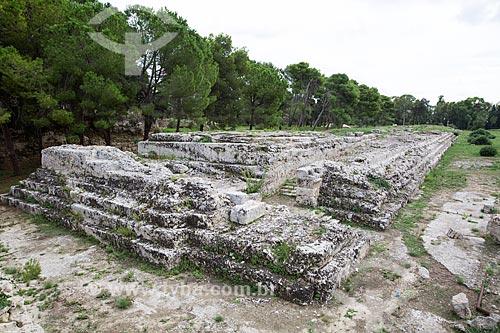 ARA di Ierone II (Altar de Hierão II) - altar de quase 200m de comprimento dedicado à Zeus, construído no século III A.C - no Parco archeologico della Neapolis (Parque Arqueológico Neapolis)  - Siracusa - Província de Siracusa - Itália