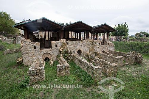 Ruínas do caldário - locais das termas romanas para os banhos quentes - da Villa Romana del Casale - antigo palácio construído no século IV  - Piazza Armerina - Província de Enna - Itália