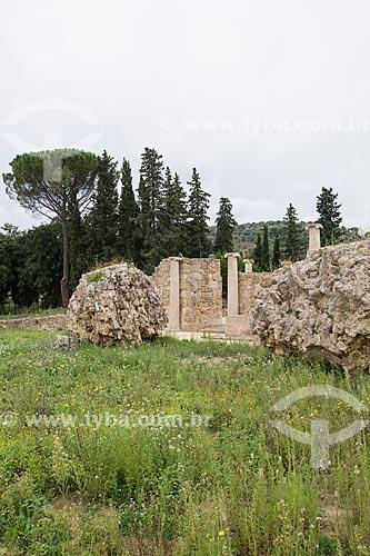 Entrada da Villa Romana del Casale - antiga palácio construído no século IV  - Piazza Armerina - Província de Enna - Itália