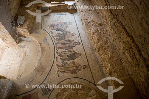 Detalhe de mosaico da entrada da termas romanas - Villa Romana del Casale - antiga palácio construído no século IV  - Piazza Armerina - Província de Enna - Itália