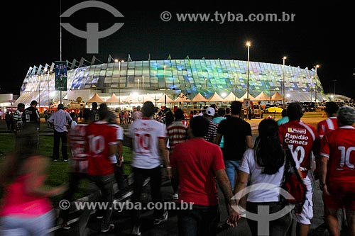 Torcida chegando para a partida inaugural da Itaipava Arena Pernambuco (2013) entre Náutico x Sporting (Portugal)  - São Lourenço da Mata - Pernambuco (PE) - Brasil