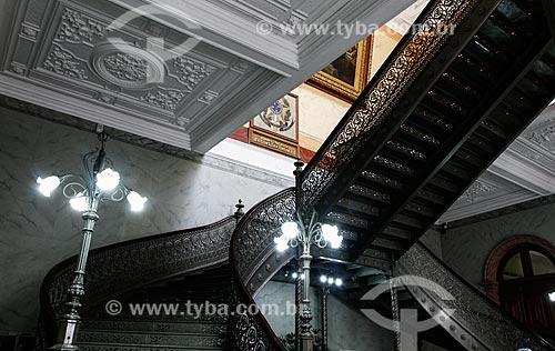 Detalhe de escadaria - vinda da Escócia - na Biblioteca Pública do Estado do Amazonas (1910)  - Manaus - Amazonas (AM) - Brasil