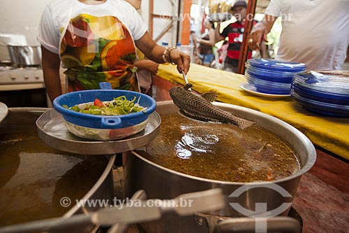 Bodó (Pterygoplichthys pardalis) cozido - prato típico da região amazônica   - Manaus - Amazonas (AM) - Brasil