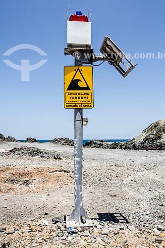Sistema de alerta para tsunami na Playa los Verdes (Praia de Los Verdes)  - Iquique - Província de Iquique - Chile