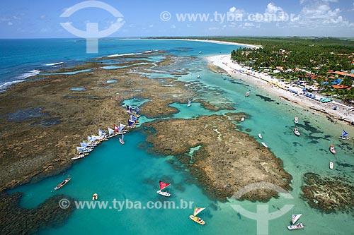 Foto aérea de jangadas na Praia de Porto de Galinhas  - Ipojuca - Pernambuco (PE) - Brasil