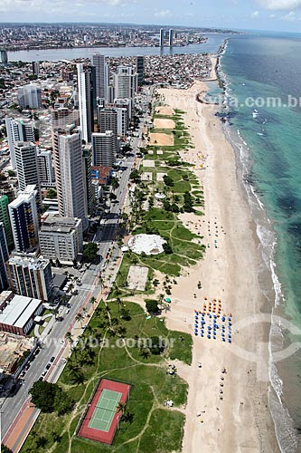 Foto aérea da orla da Praia do Pina  - Recife - Pernambuco (PE) - Brasil