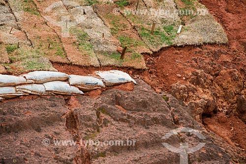 Detalhe de obra de contenção de encosta - plantio de grama - no Km 632 da Rodovia BR-040  - Conselheiro Lafaiete - Minas Gerais (MG) - Brasil