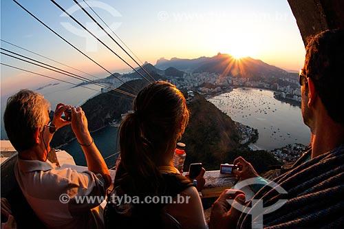 Vista do pôr do sol a partir Pão de Açúcar  - Rio de Janeiro - Rio de Janeiro (RJ) - Brasil