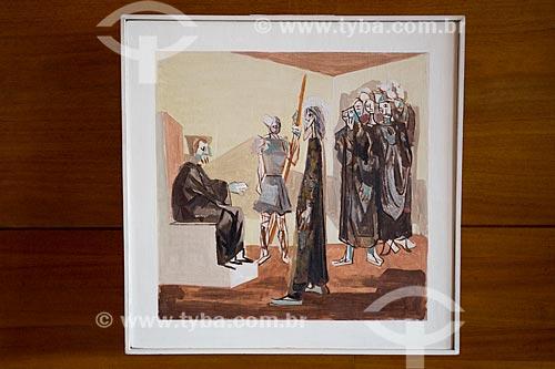 1ª Estação da Via-crúcis: Jesus é condenado à morte - por Cândido Portinari na Igreja São Francisco de Assis (1943) - também conhecida como Igreja da Pampulha  - Belo Horizonte - Minas Gerais (MG) - Brasil