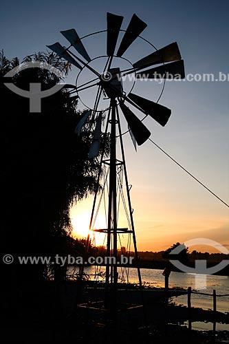 Silhueta de moinho de vento na Fazenda Sanjo  - Salvaterra - Pará (PA) - Brasil