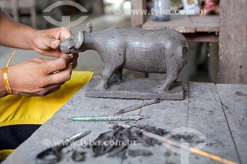 Detalhe de escultura de búfalo na Ilha de Marajó  - Soure - Pará (PA) - Brasil