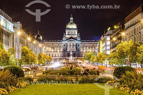 Vista da Václavské nám?stí (Praça Wenceslas) com o Národní muzeum - Museu Nacional da República Tcheca (1818) ao fundo  - Praga - Região da Boêmia Central - República Tcheca