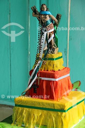 Imagem de São Sebastião em comunidade ribeirinha próxima ao Lago Cuniã  - Porto Velho - Rondônia (RO) - Brasil