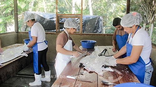 Beneficiamento do couro do jacaré-açu (Melanosuchus niger) após o abate para controle populacional na Reserva Extrativista do Lago Cuniã  - Porto Velho - Rondônia (RO) - Brasil