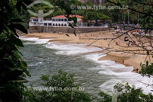 Praia Vermelha com o Círculo Militar da Praia Vermelha ao fundo  - Rio de Janeiro - Rio de Janeiro (RJ) - Brasil