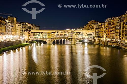 Vista da Ponte Vecchio durante à noite  - Florença - Província de Florença - Itália