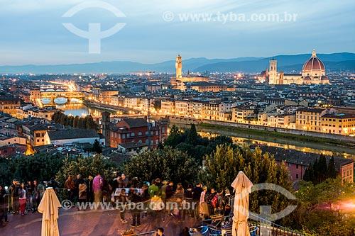 Vista geral da cidade de Florença durante o pôr do sol  - Florença - Província de Florença - Itália