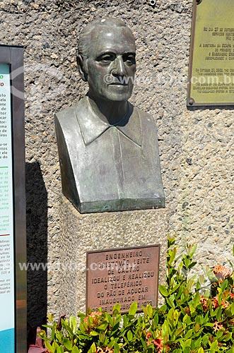Busto do engenheiro Cristovão Leite de Castro - idealizador e engenheiro do bondinho do Pão de Açúcar - na estação Pão de Açúcar do bondinho  - Rio de Janeiro - Rio de Janeiro (RJ) - Brasil