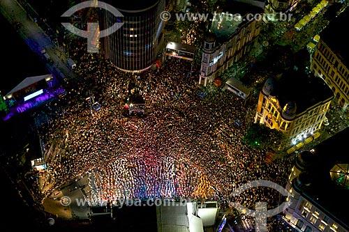 Foto aérea do carnaval na Praça do Rio Branco - também conhecido como Marco Zero  - Recife - Pernambuco (PE) - Brasil